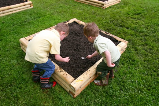 Our two sons, preparing to plant watermelon seeds in one of our 4' x 4' raised garden beds.