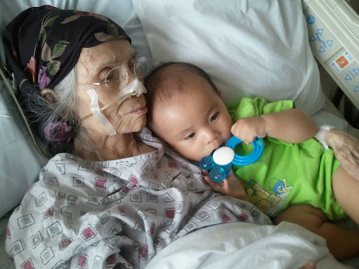 'Cheering up great grandma'