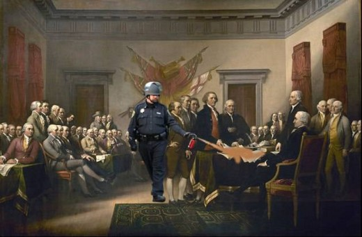 Lt. Pike pepper sprays the Declaration meme.