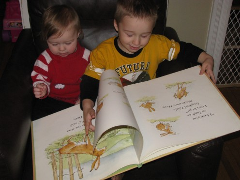 My kids reading Guess How Much I Love You