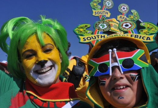 World class costuming: Your version of these fan costumes from the World Cup are sure to provide embarrassment for your offspring.