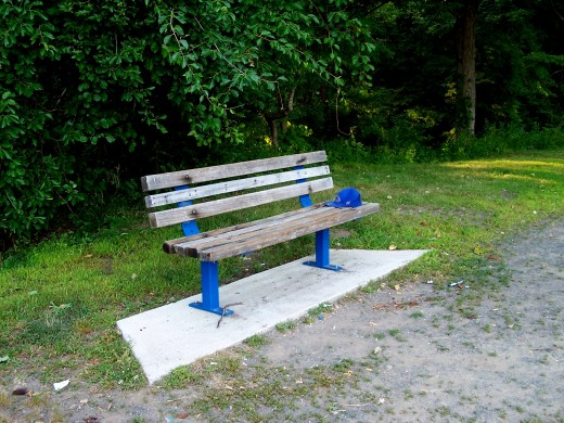 Baseball Cap Left on Bench in Park