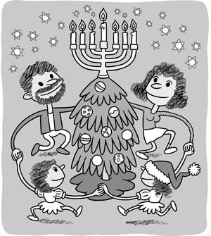 The Hanukkah Christmas tree; Image source: www.citypaper.com