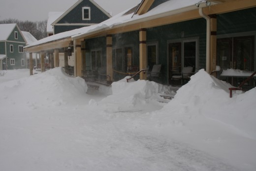Snowdrifts in front of the Common House of our cohousing village