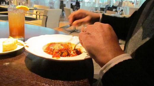 Walker raved about the succulent appetizer Melanzane Alla Parmigiana.