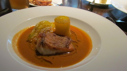 My lunch consisted of the Red Snapper with fennel, saffron potatoes and salsa burrida.