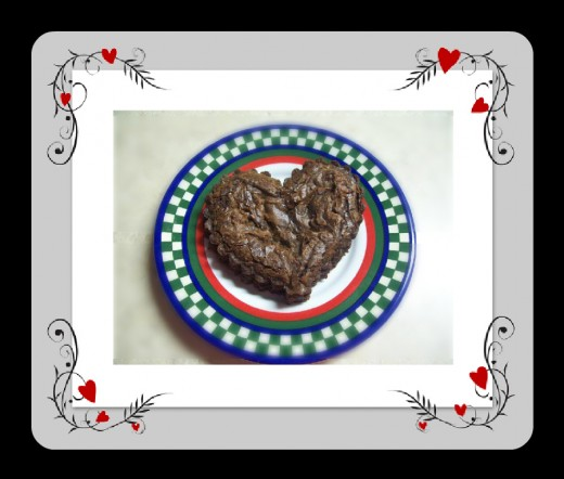 Heart-shaped brownie. Perfect for Valentine's Day!