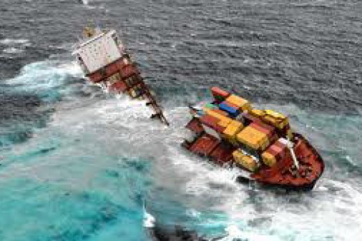 The wreck of the cargo ship Rena off the coast of New Zealand.