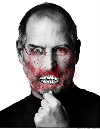 I didn't realize that Steve Jobs had already risen from the dead until I searched for an image of him.  Hopefully instead of going out in search of BRAINS, Zombie Steve Jobs will keep on working in the garage.