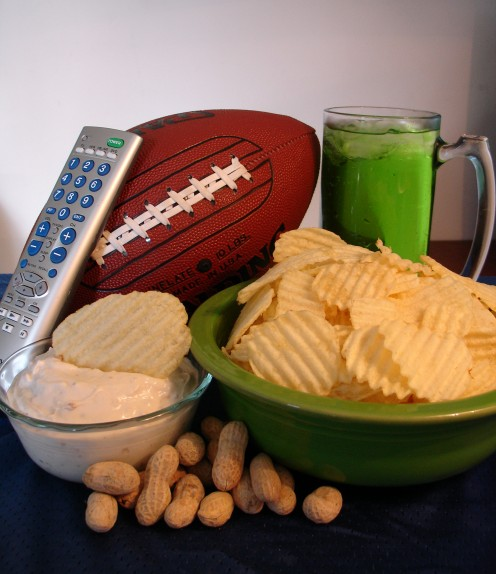 Chips and dips are mandatory for football parties.