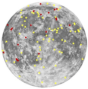 Approximate distribution of transient lunar phenomena. Note the apparent grouping around mare/highland boundaries.