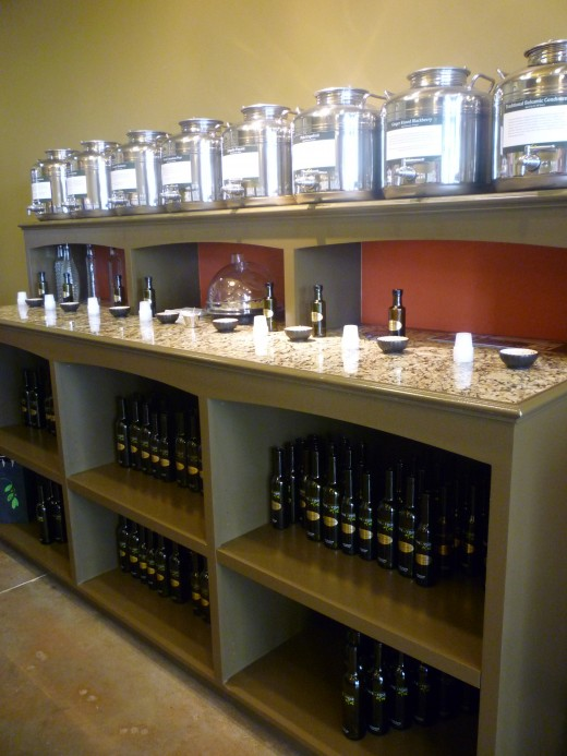 Some of the aged balsamic vinegars at Olive & Vine