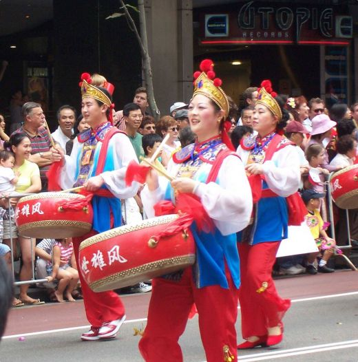 Colourful drummers during the Chinese New Year Parade