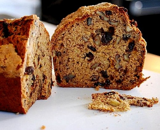 Dried fruit and nuts add interest to a banana bread