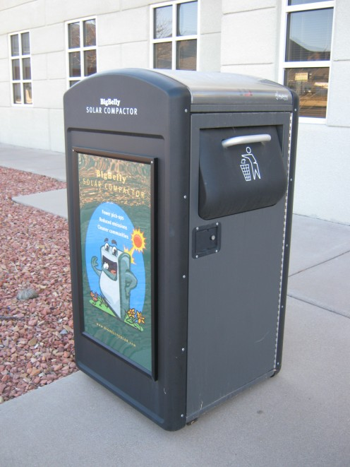 Solar trashcan in front of City Hall. The panel is on top.