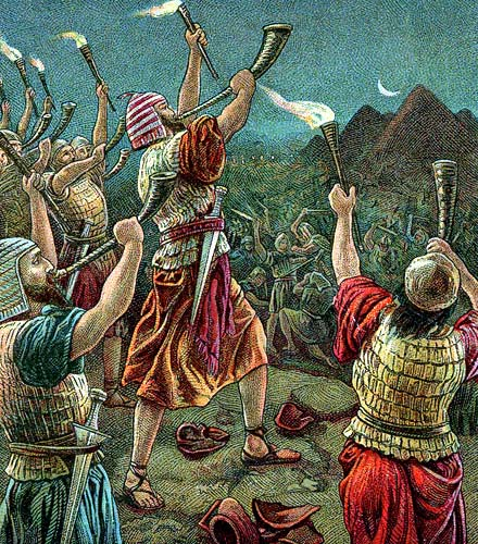 Gideon and his 300 warriors defeat the huge army of Midianites