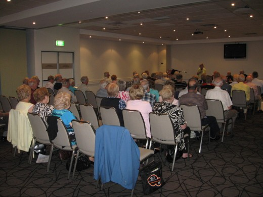 Here Tom is addressing an audience of just over sixty retirees; members of Ryde Probus Club in January 2012