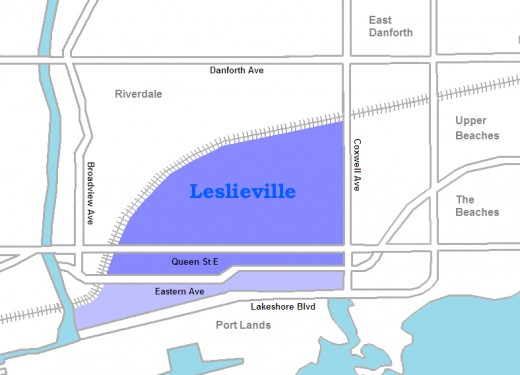 Map location of Leslieville, Toronto