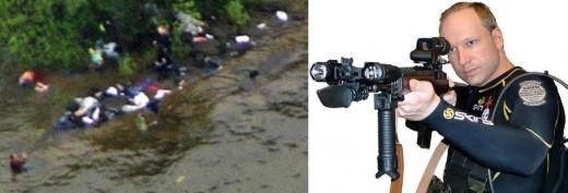 Utoya Island massacre (left), Anders Breivik (right). Brevik's terrorism was inspired by U.S. Islamophobes.