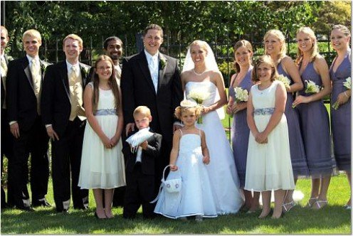 This wedding included junior bridesmaids, a flower girl and ring bearer