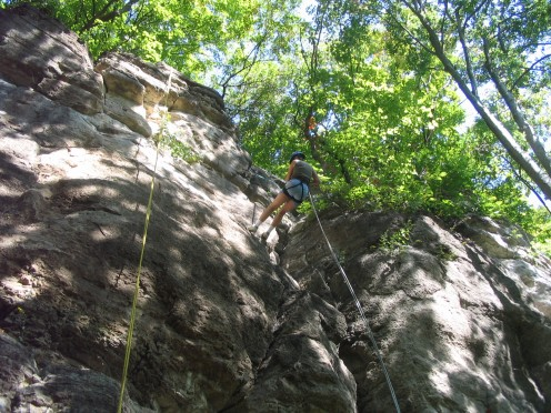 A friend took this photo of me rappelling down the side of a bluff a few years ago when I participated in the Becoming an Outdoor Woman sponsored by the Illinois Dept. of Natural Resources