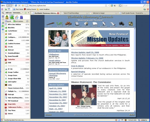 Here is a view of my FireFox 3.03 with the disabled Addons that need upgrading.  Now my favorite is Snap Links(second red from bottom) losing Tabbrowser,and Fasterfox is not that big of a deal.