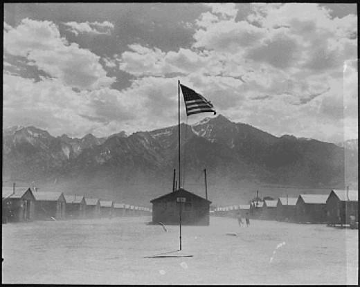 Manzanar, California internment camp during a dust storm.