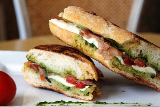 The prosciutto, pesto, tomato, and mozzarella panini is sure to please the crowd, or your family.