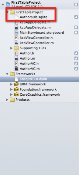 Add SQLite database file to project