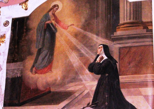 St. Margaret Mary Alacoque witnesses exposition of Sacred Heart.