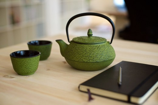 Enjoy a cup of green tea.