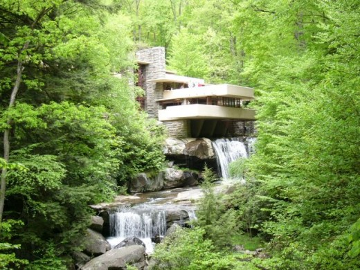 Fallingwater, outside Pittsburgh, PA, designed by American architect, Frank Lloyd Wright.