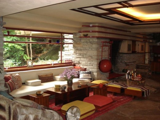 Interior of Fallingwater, designed by architect, Frank Lloyd Wright.