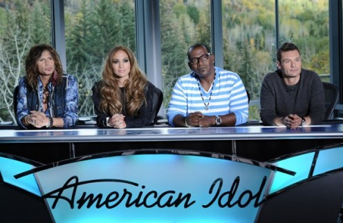 American Idol judges 2012 - Season 11 - Left to right:  Judges Steven Tyler, Jennifer Lopez, Randy Jackson, with Idol Host Ryan Seacrest