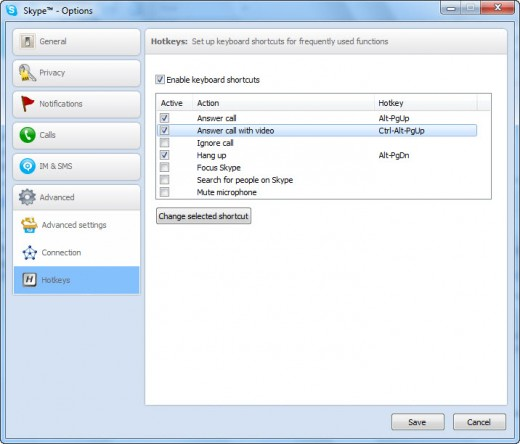 Enabling Skype Keyboard Shortcuts