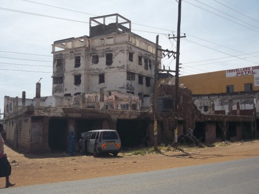 another burnt out building four years after the post election violence
