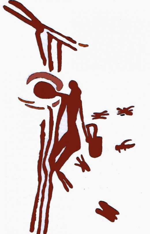 """Honey seeker depicted on 8000 year old cave painting. At Araña Caves in Spain."""