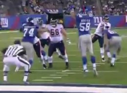 Herzlich makes an interception against the Bears in the preseason