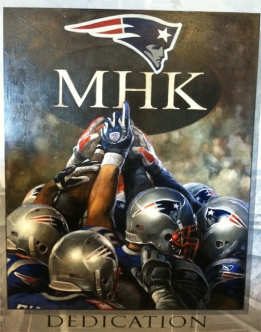 The Patriots dedicated the 2011 season to Myra, by wearing Myra Hiatt Kraft's initials on their left chest during the 2011 season and the players had this painting commissioned to honor both Myra and Bob who treat them like family.