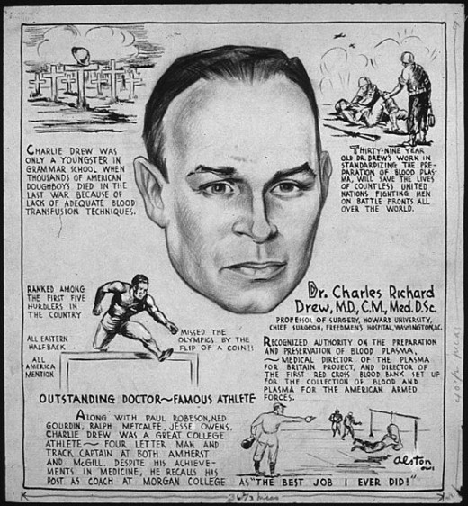 Representation of Dr. Charles Drew's Life. Artist: Charles Henry Alston. Source: Wikimedia Commons, Public Domain.