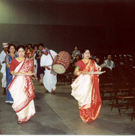 Bengali females performing Durga PUJA