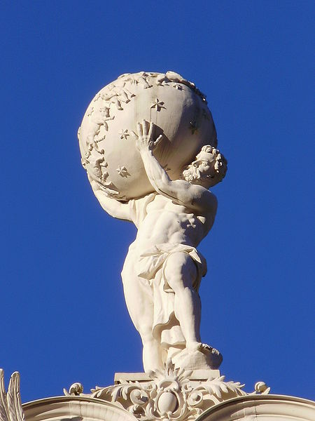 Atlas on the top of Linderhof Palace in Bavaria.