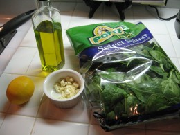 What you need to make fresh saute spinach
