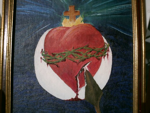 Sacred Heart of Jesus crowned by cross burning without consumption, encircled by crown of thorns, pierced by a lance pouring Its substance unto the Eucharist for all.