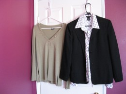 Blazer and 2 tops  purchased at the Salvation Army Thrift store.