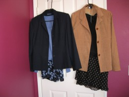 Two complete outfits: 2 skirts, two tops and two blazers total:  $12.50.