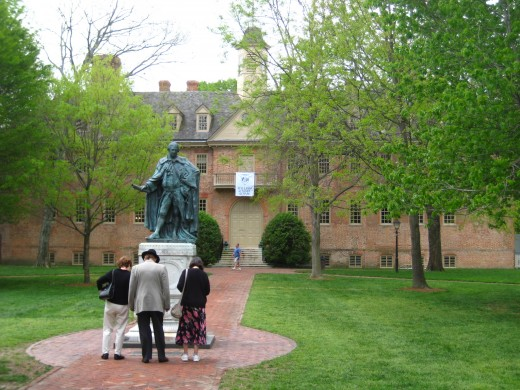 The College of William and Mary sits at the west end of Duke of Gloucester Street.  Pictured: The Mary Wren Building with statue of Lord Botetourt.