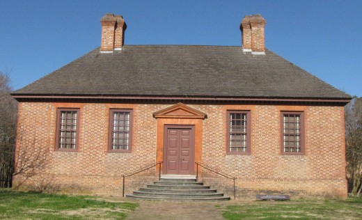 Secretary's Office in Colonial Williamsburg–– When the Capitol Building burned in 1747, this  fire-proof building for storing important papers was added next door.