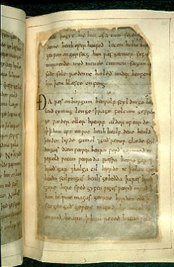 Remounted page from Beowulf, British Library Cotton Vitellius A.XV