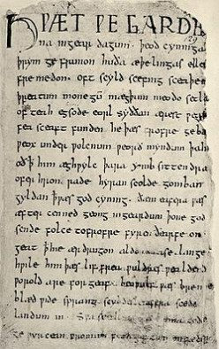 First page of Beowulf, contained in the damaged Nowell Codex.
